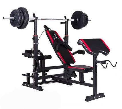 Набір Hop-Sport Premium 74 кг з лавою HS-1075 з тягою і партою, фото 2
