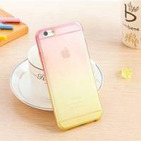 Силиконовый чехол 2х цветный Розовый с желтым для iPhone 6