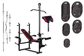Набор Hop-Sport Strong штанга и гантели 129 кг со скамьей HS-1070 с тягой и партой, фото 2