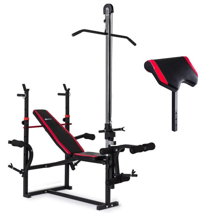 Набор Hop-Sport Strong 169 кг со скамьей HS-1070 с тягой и партой