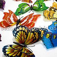 (10шт) БОЛЬШИЕ Бабочки 3D. Цвета-микс С БЛЕСТКАМИ