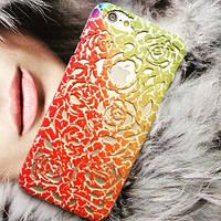 Чехол накладка розы Design Red with Orange для IPhone 6/6s