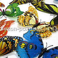 (100шт) БОЛЬШИЕ двойные 3D бабочки ≈11х9см Цвета - микс С БЛЕСТКАМИ