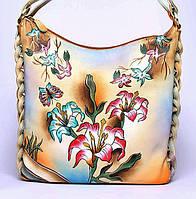 """Женская кожаная сумка """"Лилея"""", с ручной росписью , фото 1"""