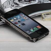 Черный металлический бампер с камнями в 1 ряд для IPhone 4/4s
