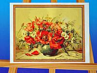 Картина на холсте по номерам Букет с маками