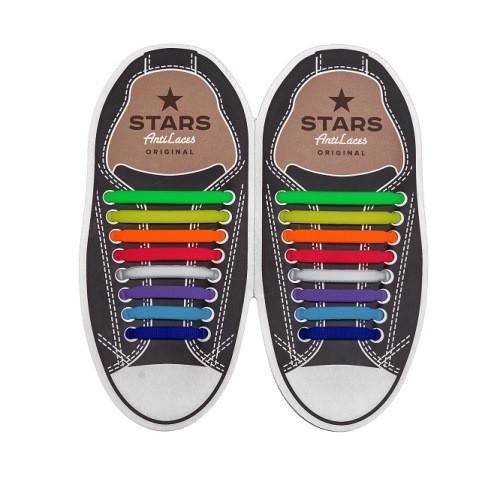 Косые cиликоновые АнтиШнурки для кроссовок и кед, 16шт. (длина: 38-68мм)