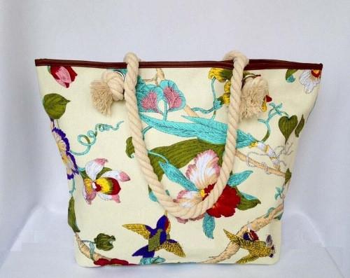 Пляжная текстильная летняя сумка для пляжа и прогулок цветочный принт