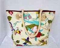 Пляжная текстильная летняя сумка для пляжа и прогулок цветочный принт, фото 1