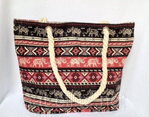Пляжная текстильная летняя сумка для пляжа и прогулок орнамент Индия