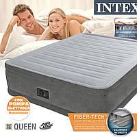 Надувная кровать IINTEX Comfort-Plus 64414 со встроенным электронасосом 220V, 152х203х46 см