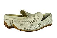 Мужские мокасины из натуральной кожи mida 13678мол молочные   летние
