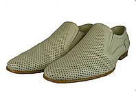 Мужские туфли  мужские из натуральной кожи mida 13286мол молочные   летние , фото 1