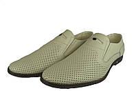 Мужские туфли  мужские из натуральной кожи mida 13894мол молочные   летние , фото 1
