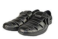 Мужские сандали  мужские из натуральной кожи prime 201ч черные   весенние