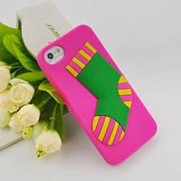 Силиконовый чехол Cristmas Holidays Socks Pink для iPhone 4/4s