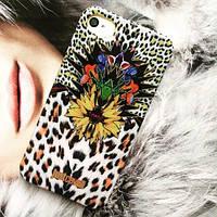 Силиконовый чехол Just Cavalli Cover Leo Flower White для IPhone 4/4s