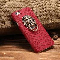 Пластиковый чехол кожа змеи Лев с кольцом Красный для iPhone 6/6s