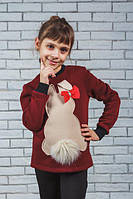 Толстовка детская с начесом бордо