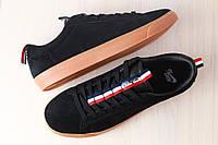 Мужские кроссовки, черного цвета, из натуральной замши, на шнурках
