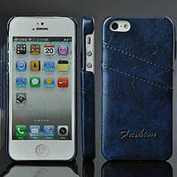 Чехол-накладка Fashion Кожаный Синий на iPhone 5/5S
