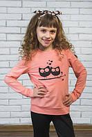 Кофта для девочки с печатью Сова персик