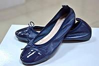 Балетки женские кожаные синего цвета итальянские Batix 2068