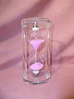 Часы песочные стеклянные с розовым песком 15 сантиметров