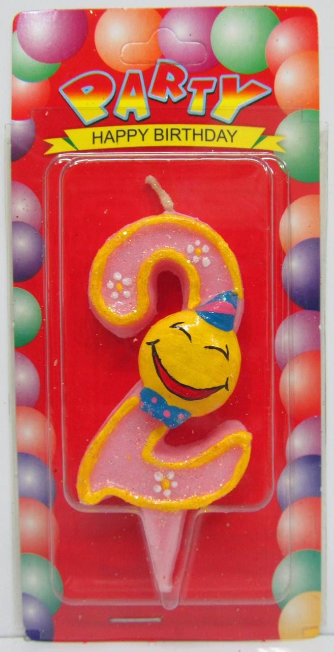 "Свеча цифра на торт  "" Смайлик розовый - 2 """