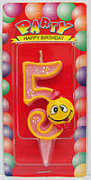 "Свеча цифра на торт  "" Смайлик розовый - 5 """