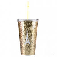 Стакан с крышкой и трубочкой Eiffel Tower Gold