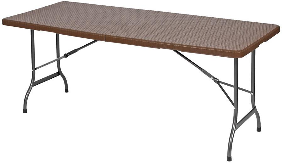 Туристический стол 180 см складной (коричневый ротанг)