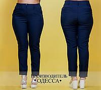 Женские модные брюки 027 / батал / темно-синие