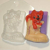 Пластиковая форма для мыла Щенок в ботинке