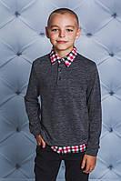 Кофта с рубашечным воротом для мальчика т-серая