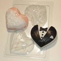 Пластиковая форма для мыла Сердца-молодожены