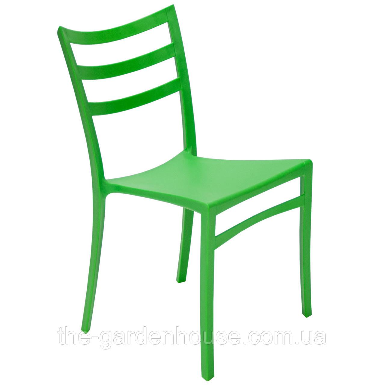 Пластиковый стул с металлическим каркасом Maka зеленый