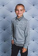 Кофта с рубашечным воротом для мальчика св-серая