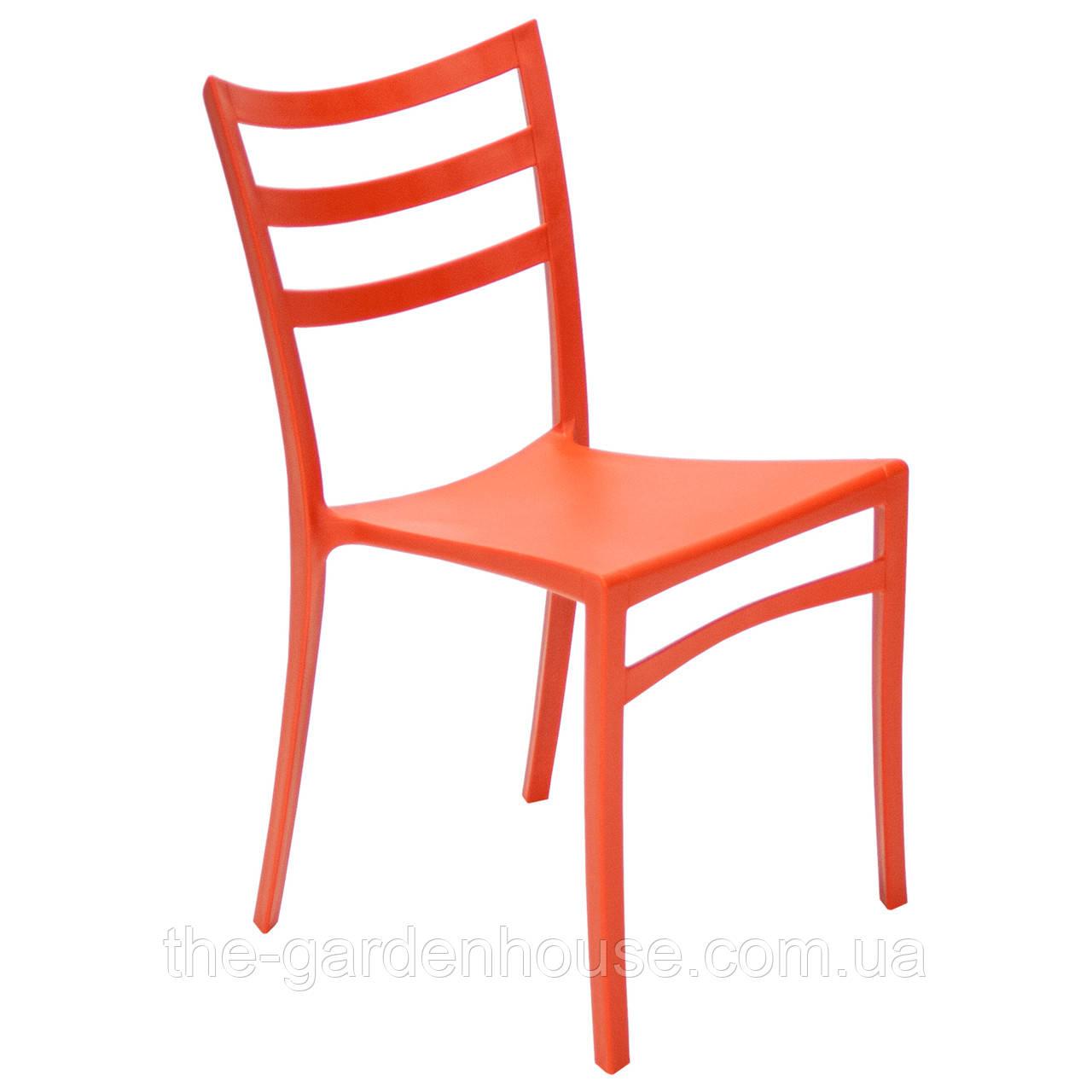 Пластиковый стул с металлическим каркасом Maka оранжевый