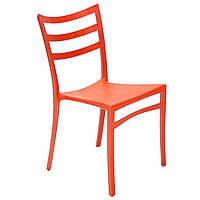 Пластиковый стул с металлическим каркасом Maka оранжевый, фото 1