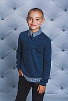 Кофта с рубашечным воротом для мальчика джинс