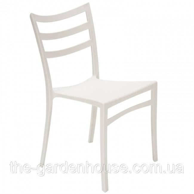 Пластиковий стілець з металевим каркасом Maka білий