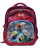 """Ортопедический школьный рюкзак для девочки 1-4 класс в 3D изображении """"Холодное сердце"""" малиновый"""