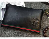 Мужской кожаный клатч Gucci (1265) black