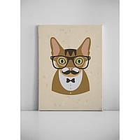 Детская картина на холсте Усатый кот хипстер 30х40 см