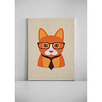 Детская картина на холсте Рыжая кошка хипстер 30х40 см