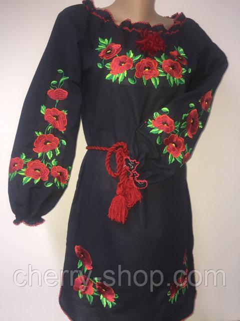 Красивое черное платье с вышивкой / Гарне чорне плаття вишиванка