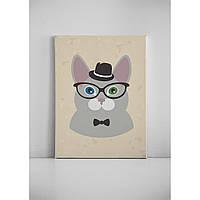 Детская картина на холсте Кот в шляпе 30х40 см