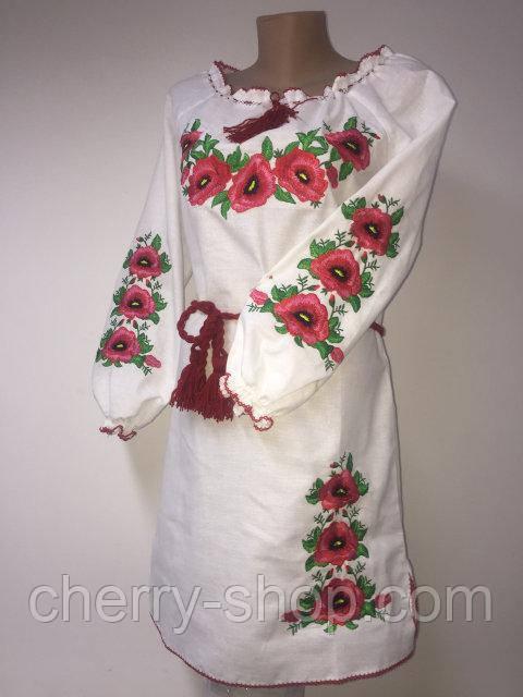 Белое нарядное платье вышиванка