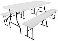 Туристичний складаний стіл 180 см + 2 лавки для відпочинку